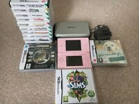 Pink Nintendo DS Lite with Case, Pen and 13 Games