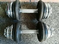 25kg Cast Iron Dumbbell Weights Set (dumbell, weights, gym, bench)