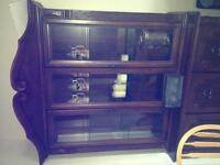 Wood table and buffet, dresser