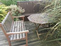 Garden wooden bench, table and shed items