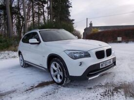 2010 60 BMW X1 2.0 18D S-DRIVE SUV IN WHITE WITH FULL RED LEATHER CALL 07908275624