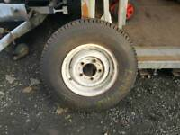 Land rover defender wheel and new tyre livestock trailer