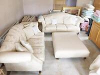 High quality cream sofa suite with floral design - Laura Ashley style