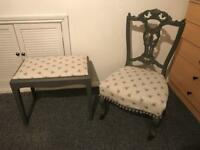 Small boudoir chair and stool