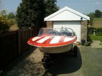 speed boat 125hp motor and trailer