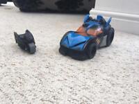 Batman car and robins bike