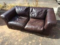 Italian leather chocolate matching 2&3 seater sofas
