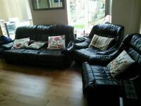 Leather sofa & chairs