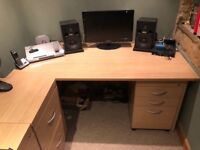Oak Finish Office Furniture (Desk, set of drawers and two filing cabinets)