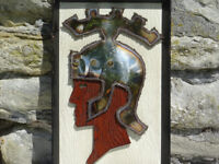 Unusual Vintage Mid 20thC Greek Spartan Warrior Wall Hanging / Sculpture Marler Haley Barnet 1950's
