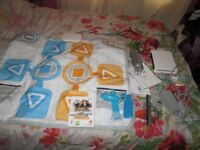 WII CONSOLE BUNDLE WII FAMILY TRAINER EXTREME CHALLENGE GAME BOXED AND MAT,BLUE WII REMOTE,NUNCHUCK