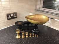 Black Cast iron traditional kitchen scales with brass weights - top quality.