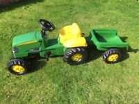 John Deere Children's Pedal Tractor and Trailer