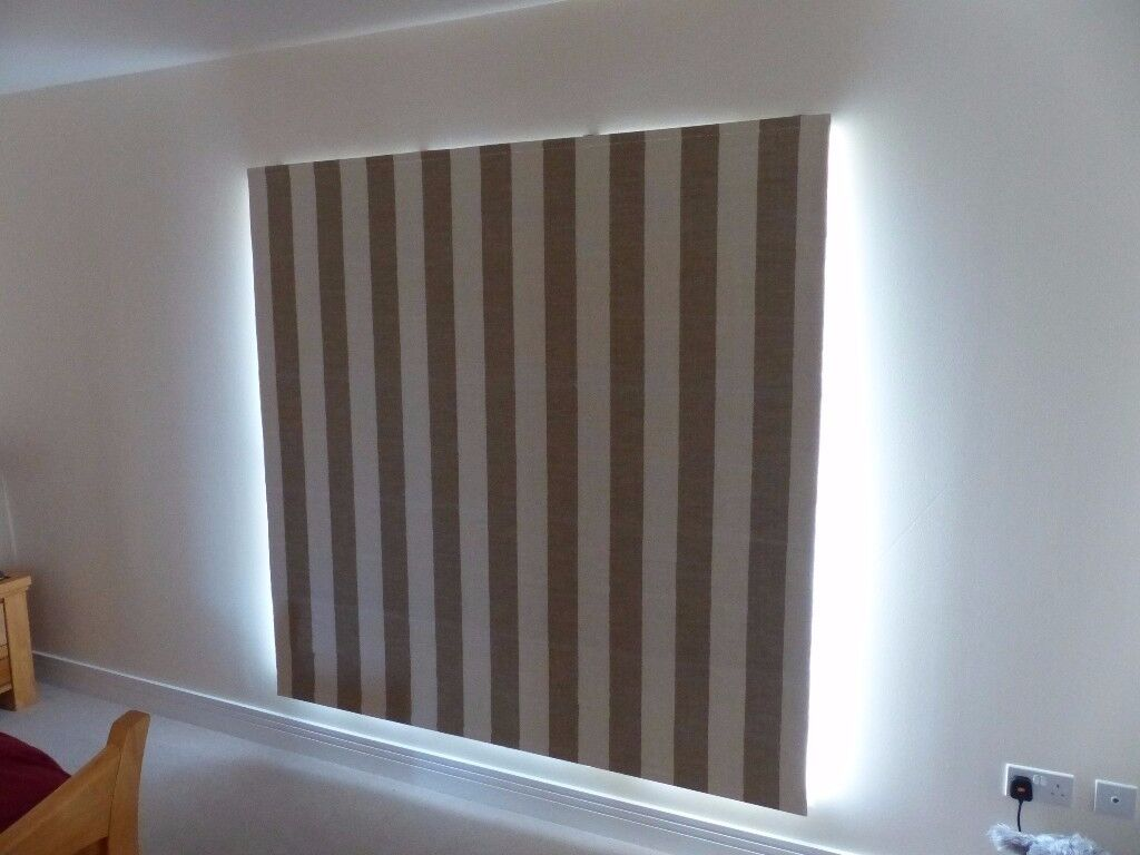 Coffee and cream coloured, striped, blackout roman blind