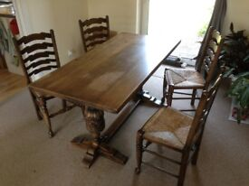 Solid wood dining table (rectangular) with 4 chairs - STILL AVAILABLE
