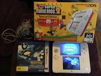 Nintendo 2ds limited edition new super Mario bros 2 plus Pokemon game
