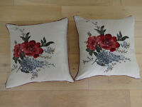 Pair Of Floral Embroidered Style Dorma Cushions & Duck Feather Inners 17 Inches