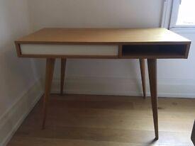 Scandinavian Desk - Brand New Condition, Solid Oak, Conical Legs, Rectangular top, Internal Drawer