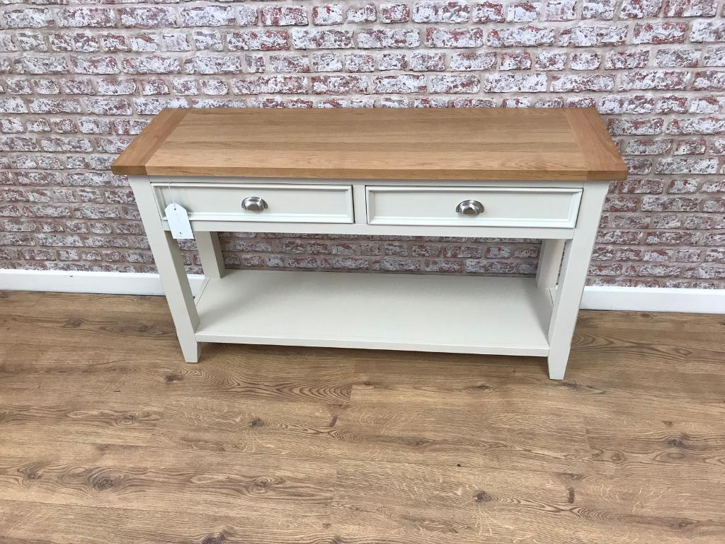 130cm wide farmhouse hall table with oak top