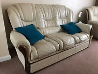 Cream Leather 3 seater sofa and 2 armchairs