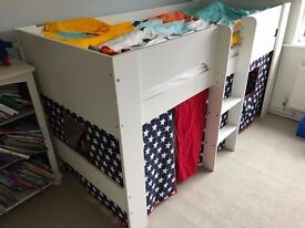 Paddington Mid Sleeper Cabin Bed Navy Star Curtains Boys Single Bed Play Tent RRP £400