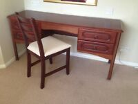 Dressing Table with 4 draws and Chair 150cm Wide x 47 Deep X 70 High
