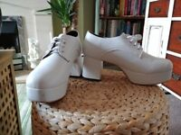 Men's white platforms - size 9