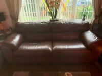 Brown leather couch 2 + 3 seater couch