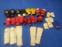 job lot of boxing gloves and shin pads