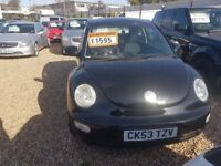 2003-53 VW BEETLE 1.6 BLACK VERY LOW MILEAGE in great condition excellent runner FULL MOT