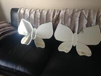 Set of 2 massive butterfly wall mirrors brand new in boxes