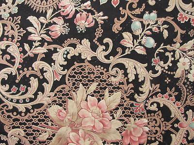 Antique French bed surround pelmet black fabric c1870