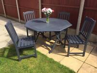 Slate Grey garden furniture immaculate with cover table & chairs can deliver