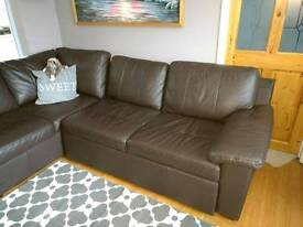 Leather corner sofa real leather