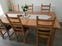 Ikea Extendable Table. Oak. Seats from 6 to 12. 1 yr old. Excellent condition