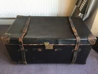 Antique leather trunk (coffee table)