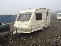 Elddis Vouge 1998 2 berth 12/13ft light weight hot and cold water cassete toilet shower 3 way