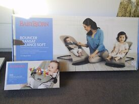 BabyBjorn Balance Soft Cotton-Khaki/Beige + original wooden toy