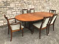 G PLAN FRESCO TEAK WOOD EXTENDING DINING TABLE AND 6 CHAIRS including 2 carvers