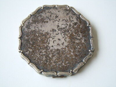 Versilbertes Messing Antike Jugendstil Puderdose 51,9 g / 7,2 x 7,1 x 0,7 cm
