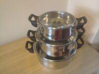 Set of Three Cookpots