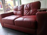 3 & 2 seater real leather sofas