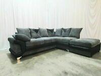 Large Dino Jumbo Cord 3 and 2 Seater Sofa Suite / Corner Set + Footstool Set - NEXT DAY!