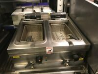 CATERING COMMERCIAL TWIN TANK FRYER CAFE KEBAB RESTAURANT EQUIPMENT KITCHEN SHOP BBQ TAKE AWAY SHOP