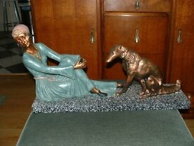 Figure of 1920's Lady with Dog