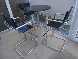 Tall granite table with 3 matching chairs, black & chrome, £150.00, Collection Only