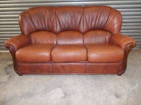 Italian Brown Leather 3-1-1 Suite (Sofa)