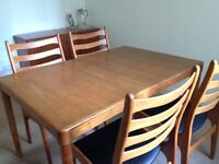 Vintage 1970s Danish Designer Dinning Table and Six Chairs