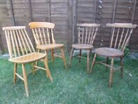 4 chairs Vintage antique style wooden dining chairs bistro cafe mix & match chairs 2 NEED TLC