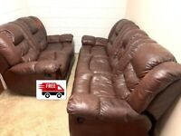 3+2 seater leather recliner sofa (Free Delivery)